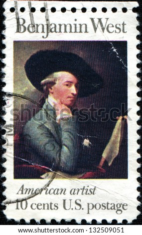 USA - CIRCA 1975: A stamp printed in United States of America shows Benjamin West, American artist, circa 1975