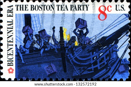 USA - CIRCA 1973: A stamp printed in United States of America shows Boston tea party, circa 1973