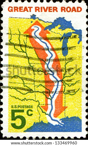 USA - CIRCA 1966: A stamp printed in United States of America shows Central US Map with Great River Road, circa 1966