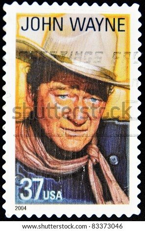 USA - CIRCA 2004: A stamp printed in United States of America shows famous american movies western actor John Wayne, circa 2004