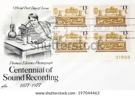USA - CIRCA 1977: A stamp printed in United States of America shows Foil phonograth, centennial of sound recording, circa 1977