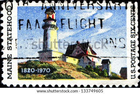 "USA - CIRCA 19: A stamp printed in United States of America shows ""Lighthouse at two Lights"", by Edward Hopper (1882-1967), Maine Statehood Issue, circa 1970"