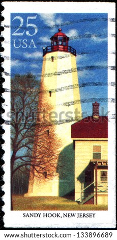 USA - CIRCA 1990: A stamp printed in United States of America shows lighthouse Sandy Hook, New Jersey, circa 1990