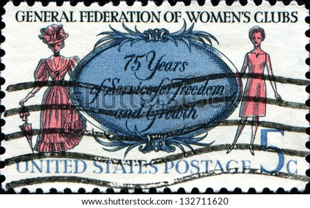 USA - CIRCA 1966: A stamp printed in United States of America shows Women of 1890 and 1966, General Federation of Womens Clubs, circa 1966 - stock photo