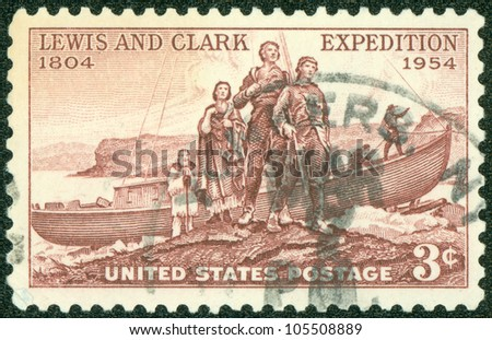 USA - CIRCA 1954: A stamp printed in USA devoted to Lewis and Clark Expedition Sesquicentennial, circa 1954