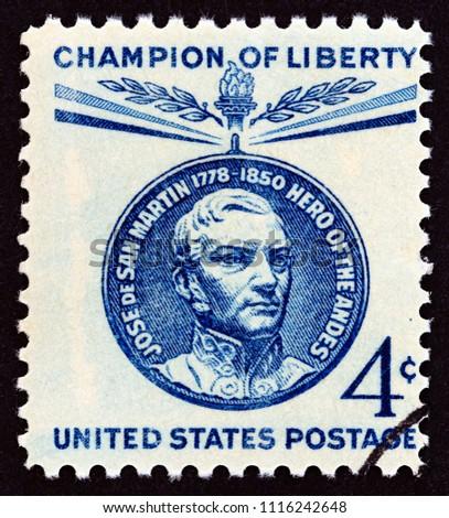 usa   circa 1959  a stamp...