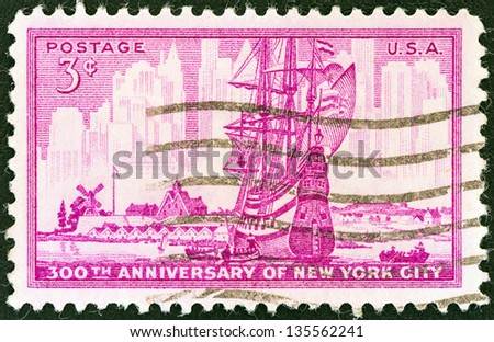 USA - CIRCA 1953: A stamp printed in USA issued for the 300th anniversary of New York City shows New York in 1653 and 1953, circa 1953.