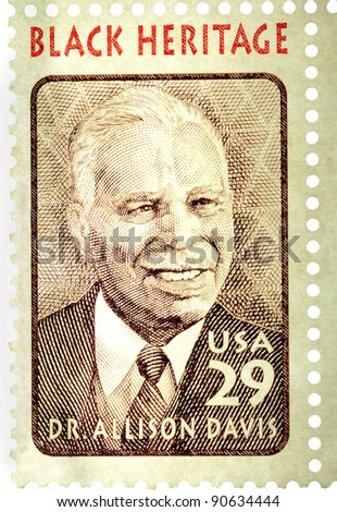 USA - CIRCA 1994:  A stamp printed in USA shows a picture of Dr. Allison Davis, educator and anthropologist, circa 1994