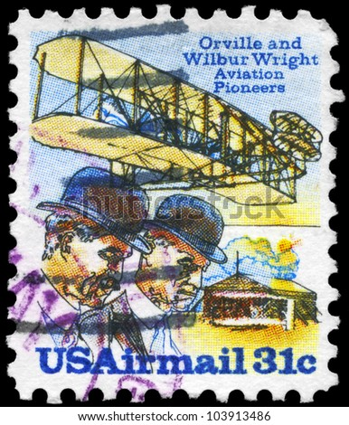USA - CIRCA 1978: A stamp printed in USA shows a Wright Brothers, Flyer A and Shed, circa 1978