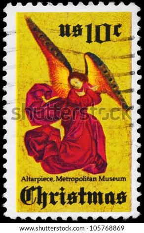 USA - CIRCA 1974: A Stamp printed in USA shows Angel, from Perussis Altarpiece, Metropolitan Museum of Art, New York, circa 1974