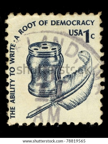 USA - CIRCA 1985: A stamp printed in USA shows image of accessories for writing, circa 1985
