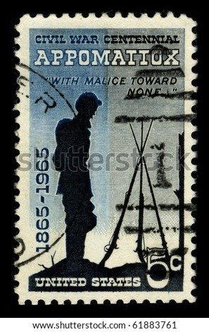 USA - CIRCA 1965: A stamp printed in USA shows image of the dedicated to the Civil War Centennial 1865-1965 circa 1965. - stock photo