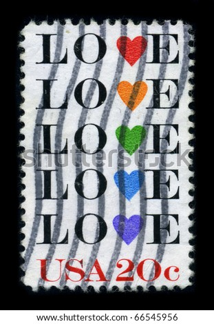 USA - CIRCA 1980: A stamp printed in USA shows image of the dedicated to the Love, circa 1980.