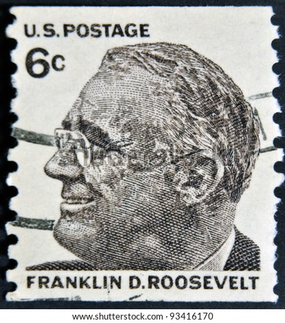USA-CIRCA 1966:A stamp printed in USA shows image of the Franklin Delano Roosevelt, circa 1966.