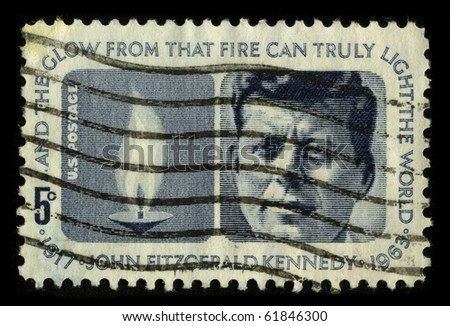 "USA - CIRCA 1970: A stamp printed in USA shows image portrait John Fitzgerald ""Jack"" Kennedy, often referred to by his initials JFK, was the 35th President of the United States circa 1970."