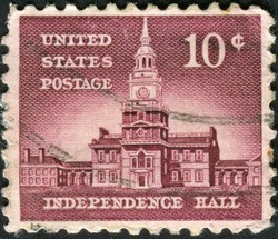 USA - CIRCA 1956: A stamp printed in USA shows Independence Hall