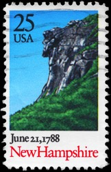 USA - CIRCA 1988: A Stamp printed in USA shows Landscape with Cliff, New Hampshire, Ratification of the Constitution series, circa 1988