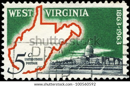 USA - CIRCA 1963: A stamp printed in USA shows Map & State Capitol, West Virginia Statehood Centenary, circa 1963