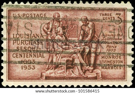 USA - CIRCA 1953: A Stamp printed in USA shows Monroe, Livingston and Barbe-Marbois, devoted to Louisiana Purchase, 150th Anniversary, circa 1953 - stock photo