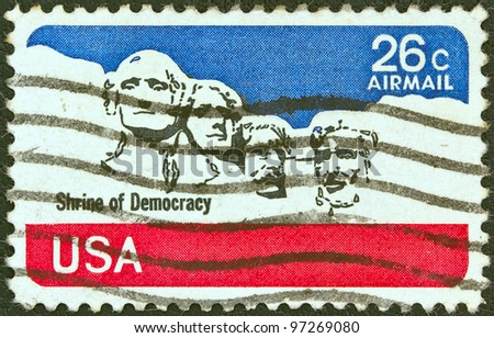 USA - CIRCA 1974: A stamp printed in USA shows Mount Rushmore National Memorial, circa 1974.