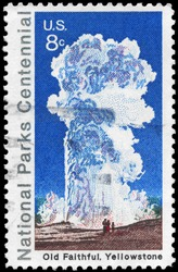 USA - CIRCA 1972: A Stamp printed in USA shows Old Faithful, Yellowstone, National Parks Centennial Issue, circa 1972