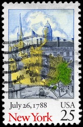 USA - CIRCA 1988: A Stamp printed in USA shows old New York scene, Ratification of the Constitution series, circa 1988