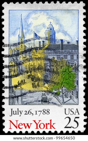 USA - CIRCA 1988: A Stamp printed in USA shows old New York scene, Ratification of the Constitution series, circa 1988 - stock photo
