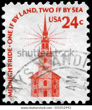 USA - CIRCA 1975: A Stamp printed in USA shows Old North Church, Boston, Americana Issue, circa 1975