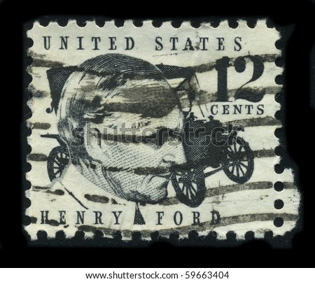 USA - CIRCA 1930: A stamp printed in USA shows Portrait Henry Ford circa 1930.