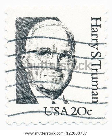 USA - CIRCA 1984: A stamp printed in USA shows portrait of Harry Truman (1884-1972), a 33st President of the United States, circa 1984