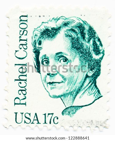 USA - CIRCA 1981: A stamp printed in USA shows portrait of Rachel Carson (1907-1964), biologist, circa 1981