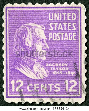 USA - CIRCA 1938: A stamp printed in USA shows portrait of Zachary Taylor (1784-1850), circa 1938