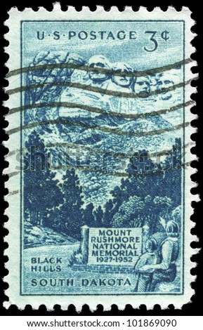 USA - CIRCA 1952: A stamp printed in USA shows Sculptured Heads on Mount Rushmore, National Memorial Issue, circa 1952