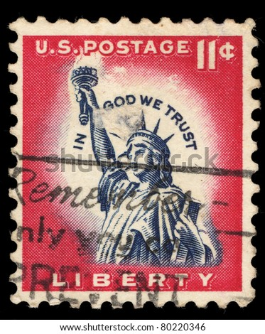 USA - CIRCA 1961: A stamp printed in USA shows Statue of Liberty, circa 1961