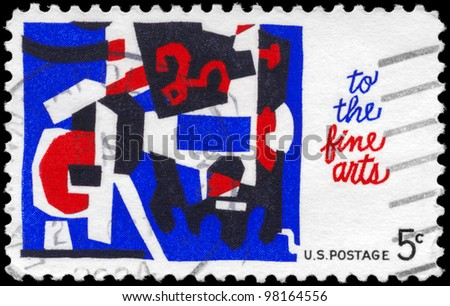 USA - CIRCA 1964: A stamp printed in USA shows the abstract design by Stuart Davis, Fine Arts Issue, circa 1964