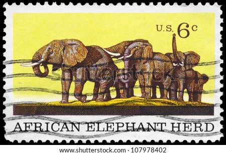 USA - CIRCA 1969: A Stamp printed in USA shows the African Elephant Herd, Natural History issue, circa 1969