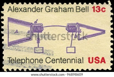USA - CIRCA 1976: A Stamp printed in USA shows the Alexander Graham Bell Telephone Patent Application, Telephone Centenary Issue, circa 1976