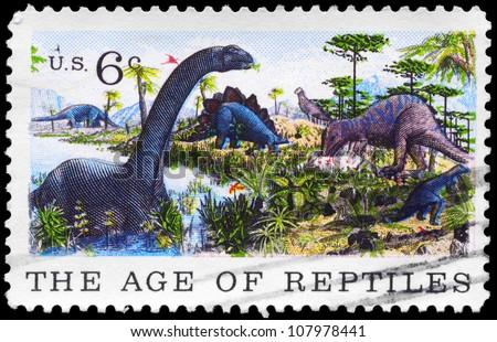 USA - CIRCA 1969: A Stamp printed in USA shows the Brontosaurus, Stegosaurus & Allosaurus, Natural History issue, circa 1969