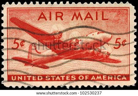 USA - CIRCA 1946: A Stamp printed in USA shows the Douglas DC-4 Skymaster, circa 1946