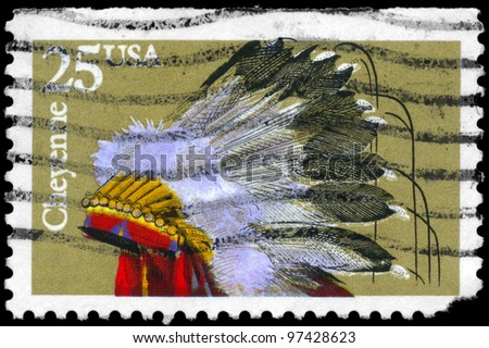 USA - CIRCA 1990: A stamp printed in USA shows the Indian Headdresses of the tribe Cheyenne, series, circa 1990