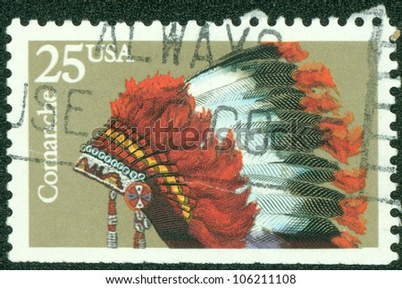 USA - CIRCA 1990: A stamp printed in USA shows the Indian Headdresses of the tribe Comanche, series, circa 1990