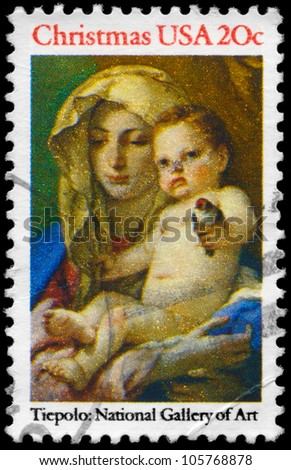 USA - CIRCA 1982: A Stamp printed in USA shows the Madonna and Child, by Giovanni Battista Tiepolo (1696-1770), National Gallery of Art, circa 1982