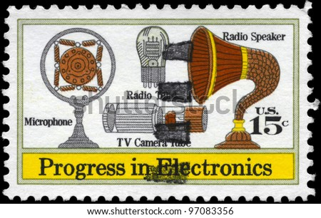 USA - CIRCA 1973: A Stamp printed in USA shows the Microphone, Speaker, Vacuum Tube, TV Camera Tube, Electronics Progress Issue, circa 1973 - stock photo