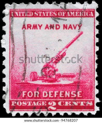 USA - CIRCA 1940: A Stamp printed in USA shows the 90-millimeter Antiaircraft Gun, circa 1940