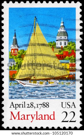 USA - CIRCA 1988: A Stamp printed in USA shows the Sailer on the City background, Ratification of the Constitution series, circa 1988