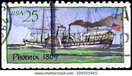 "USA - CIRCA 1989: A Stamp printed in USA shows the Ship ""Phoenix"" (1809), Steamboats series, circa 1989"