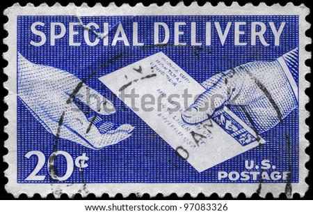 USA - CIRCA 1954: A Stamp printed in USA shows the Special Delivery Letter, Hand to Hand, series, circa 1954