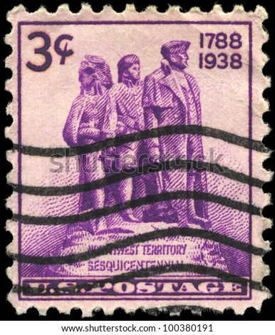 USA - CIRCA 1938: A stamp printed in USA shows the Statue symbolizing Colonization of the West, Sesquicentennial of the settlement of the Northwest Territory, circa 1938