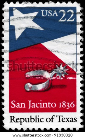 USA - CIRCA 1986: A stamp printed in USA shows the Texas State Flag and Silver Spur, devoted to Republic of Texas, 150th Anniv., circa 1986
