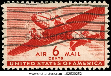 USA - CIRCA 1943: A Stamp printed in USA shows the Twin-Motored Transport Plane, circa 1943